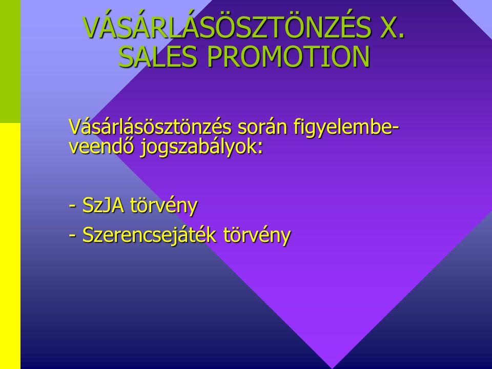 VÁSÁRLÁSÖSZTÖNZÉS IX. SALES PROMOTION Vásárlásösztönzés típusainak lélektani hatása: V. Egyéb - a forgalom növelése a cél - több helyszínen történő ár