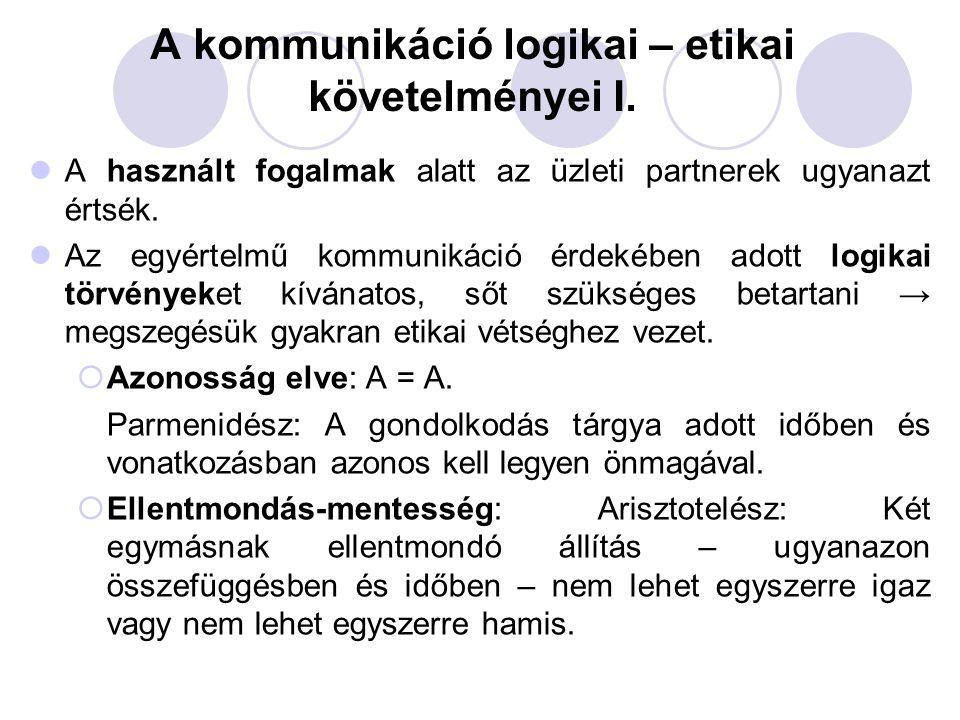 A kommunikáció logikai – etikai követelményei I. A használt fogalmak alatt az üzleti partnerek ugyanazt értsék. Az egyértelmű kommunikáció érdekében a