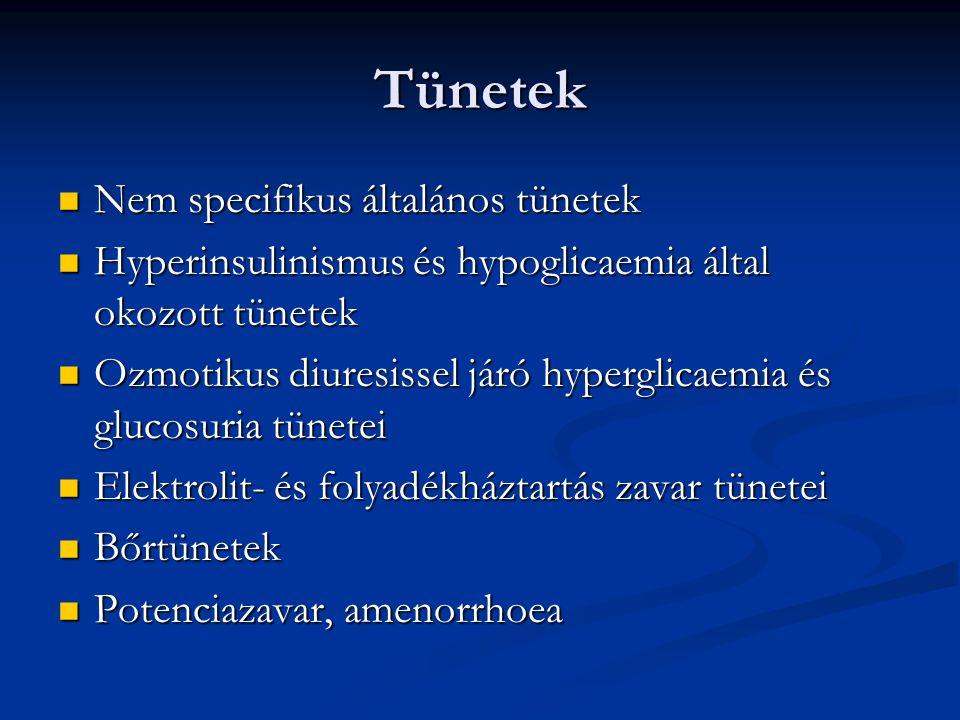 Tünetek Nem specifikus általános tünetek Nem specifikus általános tünetek Hyperinsulinismus és hypoglicaemia által okozott tünetek Hyperinsulinismus é