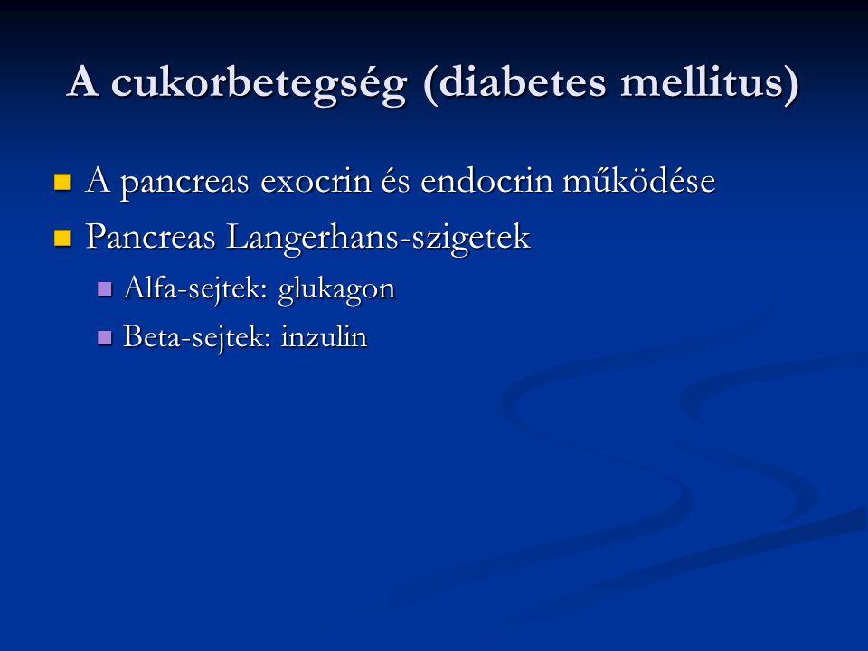 Laboratóriumi eltérések Stádium Éhomi vércukor (mmol/l) Random vércukor (mmol/l) OGTT(mmol/l) Diabetes7,0<11,1< +DM tünetei 11,1< Károsodott glükóz homeosztázis (IFG) 6,1-7,07,8-11,0(IGT) Normális<6,1<7,8