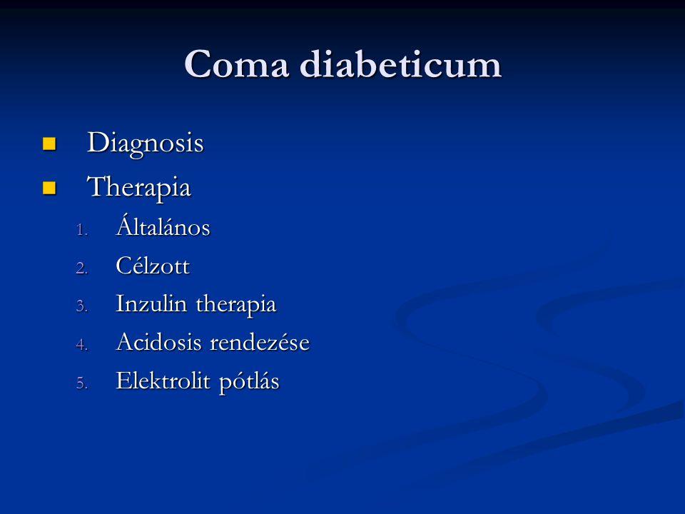 Coma diabeticum Diagnosis Diagnosis Therapia Therapia 1. Általános 2. Célzott 3. Inzulin therapia 4. Acidosis rendezése 5. Elektrolit pótlás