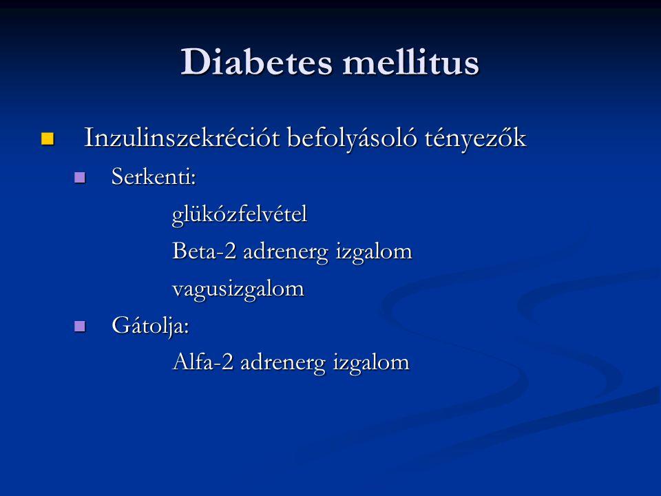 Diabetes mellitus Inzulinszekréciót befolyásoló tényezők Inzulinszekréciót befolyásoló tényezők Serkenti: Serkenti:glükózfelvétel Beta-2 adrenerg izga