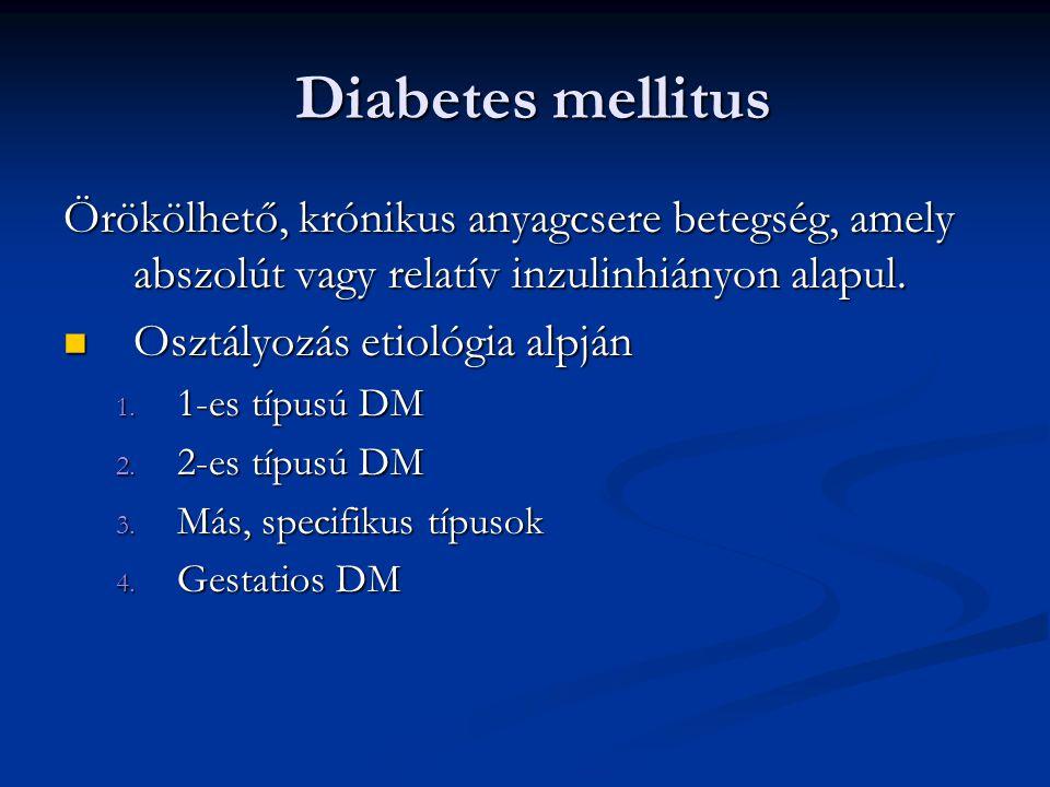 Diabetes mellitus Diabetes mellitus Örökölhető, krónikus anyagcsere betegség, amely abszolút vagy relatív inzulinhiányon alapul. Osztályozás etiológia