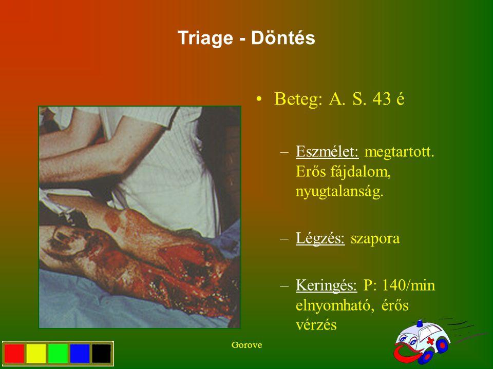 Gorove Beteg: A. S. 43 é –Eszmélet: megtartott. Erős fájdalom, nyugtalanság. –Légzés: szapora –Keringés: P: 140/min elnyomható, érős vérzés Triage - D