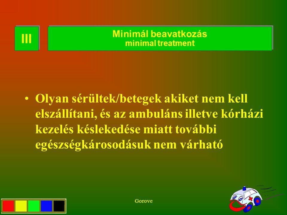 Gorove T3 Definition Olyan sérültek/betegek akiket nem kell elszállítani, és az ambuláns illetve kórházi kezelés késlekedése miatt további egészségkár