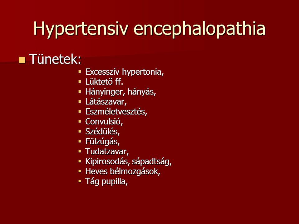 Hypertensiv encephalopathia Tünetek: Tünetek:  Excesszív hypertonia,  Lüktető ff.  Hányinger, hányás,  Látászavar,  Eszméletvesztés,  Convulsió,