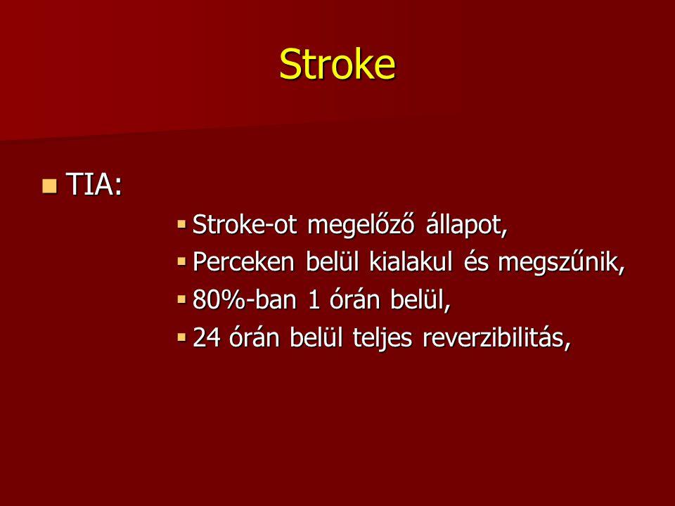 Stroke TIA: TIA:  Stroke-ot megelőző állapot,  Perceken belül kialakul és megszűnik,  80%-ban 1 órán belül,  24 órán belül teljes reverzibilitás,