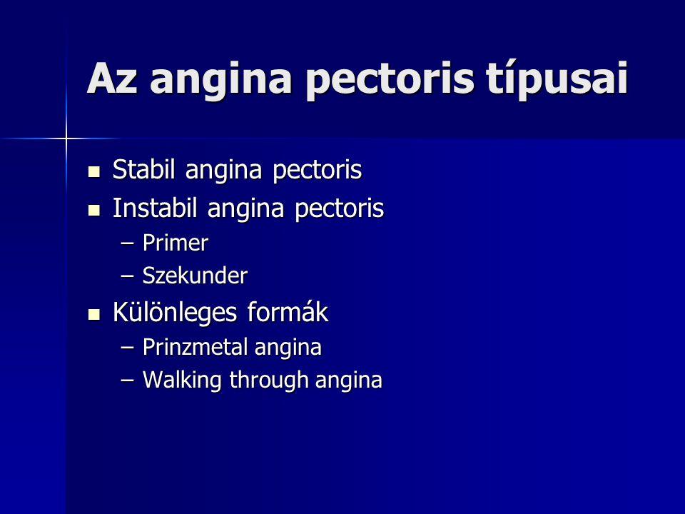 Az angina pectoris típusai Stabil angina pectoris Stabil angina pectoris Instabil angina pectoris Instabil angina pectoris –Primer –Szekunder Különleg