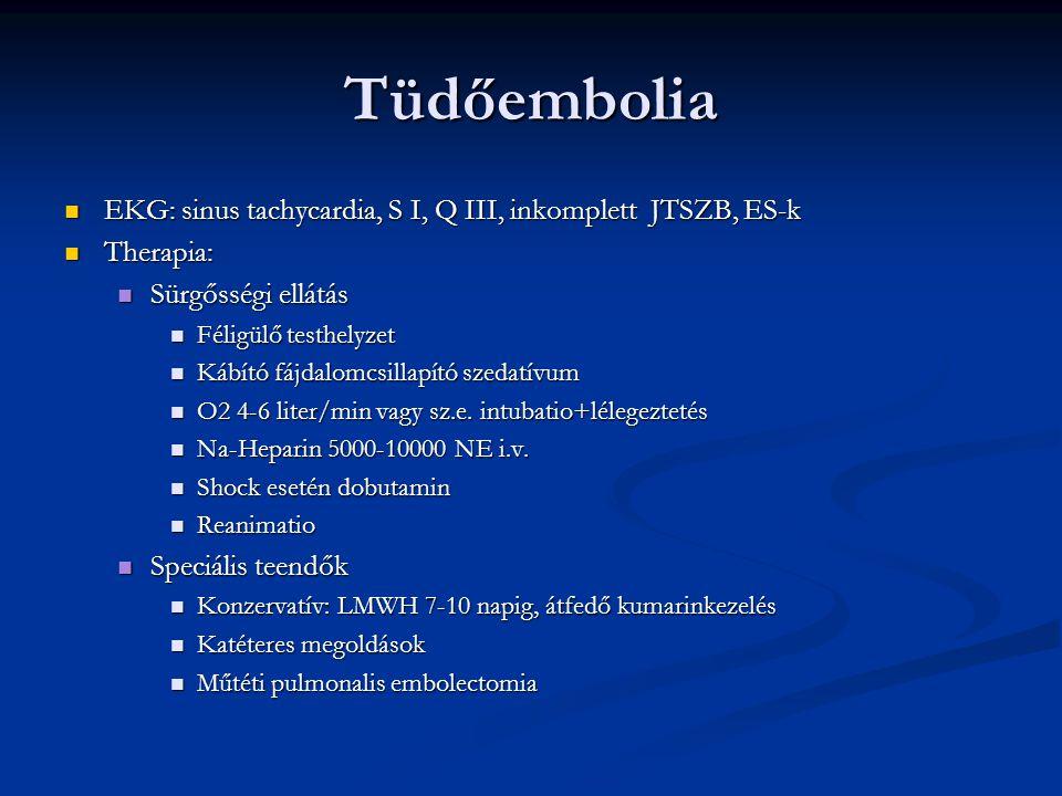 Tüdőembolia EKG: sinus tachycardia, S I, Q III, inkomplett JTSZB, ES-k EKG: sinus tachycardia, S I, Q III, inkomplett JTSZB, ES-k Therapia: Therapia: