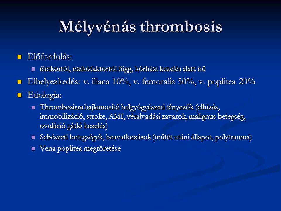 Mélyvénás thrombosis Tünetek Tünetek Nehéz, feszülő láb Nehéz, feszülő láb Húzó jellegű fájdalom Húzó jellegű fájdalom Duzzanat (körfogatkülönbség) Duzzanat (körfogatkülönbség) Fénylő, cyanoticus bőr Fénylő, cyanoticus bőr Melegségérzet Melegségérzet Nyomásérzékenység a vénalefutásnak megfelelően Nyomásérzékenység a vénalefutásnak megfelelően Homans jel: lábfej dorsalflexiojakor lábikrafájdalom Homans jel: lábfej dorsalflexiojakor lábikrafájdalom Szövődmény: tüdőembolia, krónikus vénás elégtelenség Szövődmény: tüdőembolia, krónikus vénás elégtelenség Therapia: Therapia: Általános : rugalmas pólya, harisnya, végtag felpolcolása, fokozatos mobilizáció Általános : rugalmas pólya, harisnya, végtag felpolcolása, fokozatos mobilizáció Anticoagulatio: 70NE/ttkg nem frakcionált heparin bolusban ; LMWH Anticoagulatio: 70NE/ttkg nem frakcionált heparin bolusban ; LMWH Lysis Lysis Thrombectomia Thrombectomia