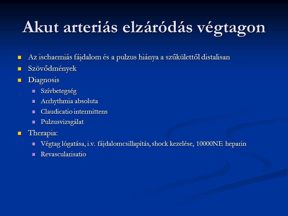 Akut arteriás elzáródás végtagon Az ischaemiás fájdalom és a pulzus hiánya a szűkülettől distalisan Az ischaemiás fájdalom és a pulzus hiánya a szűkül