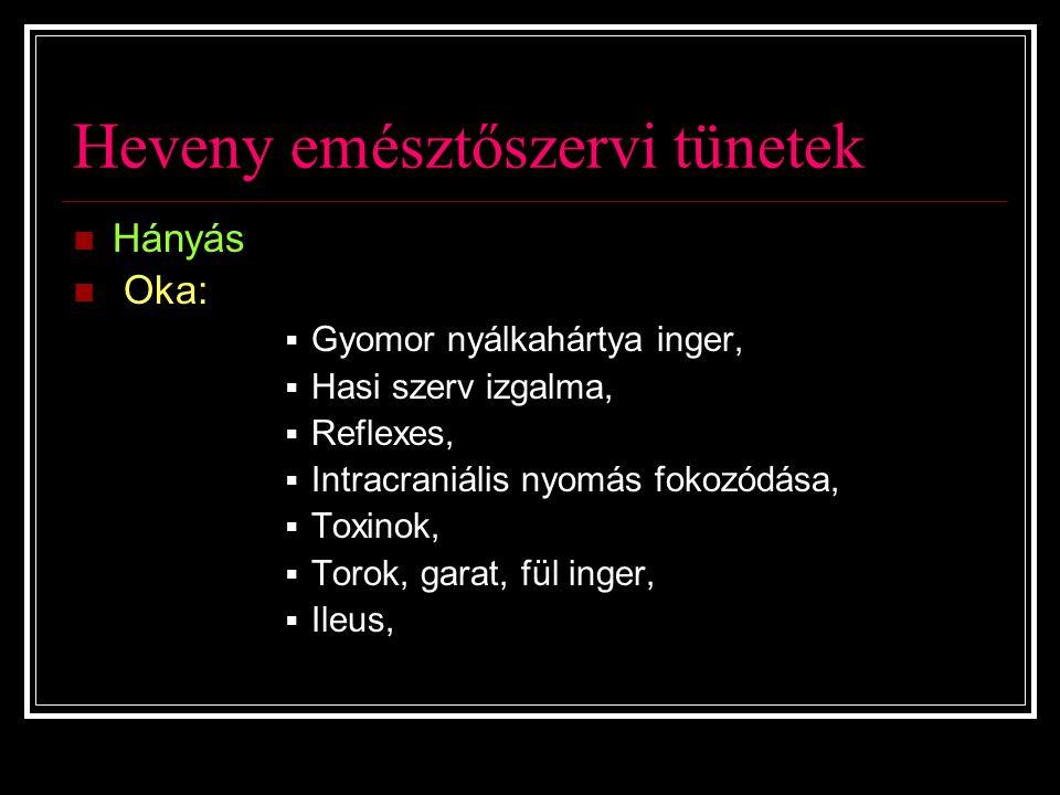 Heveny emésztőszervi tünetek Hányás Oka:  Gyomor nyálkahártya inger,  Hasi szerv izgalma,  Reflexes,  Intracraniális nyomás fokozódása,  Toxinok,