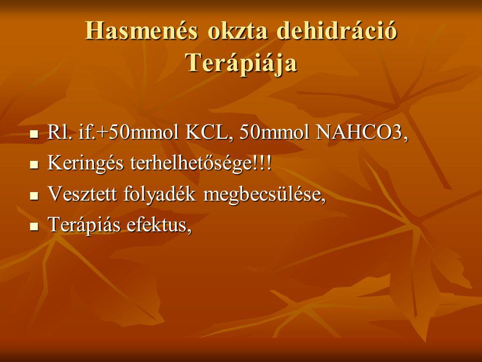Hasmenés okzta dehidráció Terápiája Rl. if.+50mmol KCL, 50mmol NAHCO3, Rl. if.+50mmol KCL, 50mmol NAHCO3, Keringés terhelhetősége!!! Keringés terhelhe