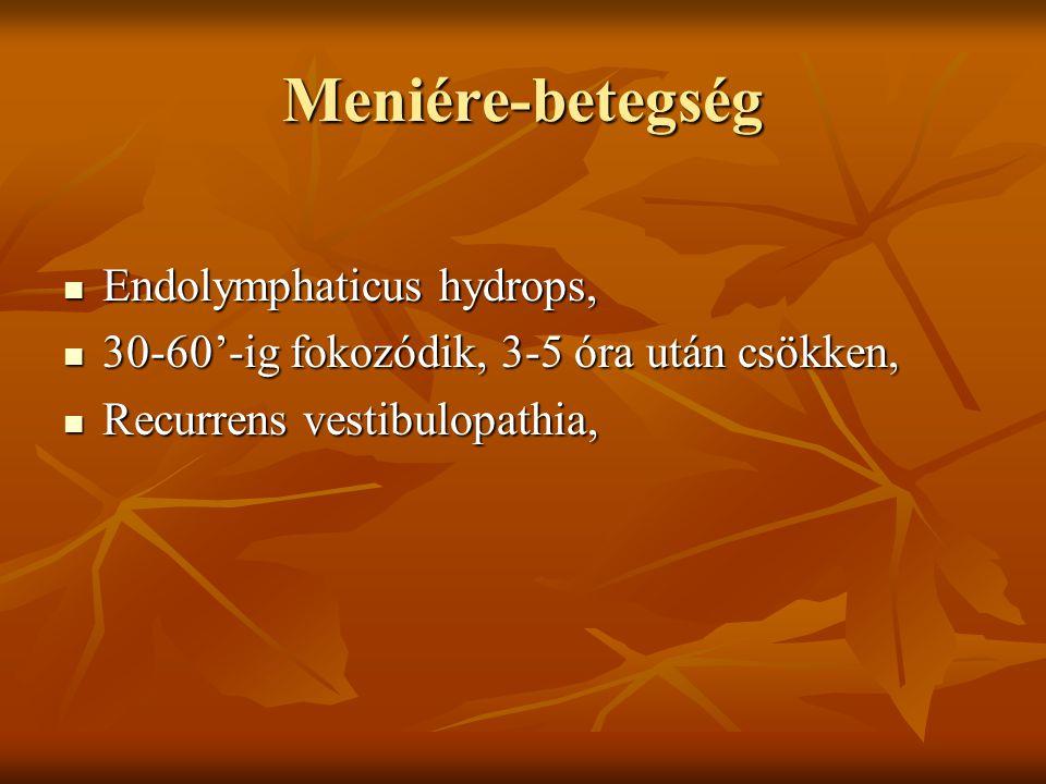 Meniére-betegség Endolymphaticus hydrops, Endolymphaticus hydrops, 30-60'-ig fokozódik, 3-5 óra után csökken, 30-60'-ig fokozódik, 3-5 óra után csökke