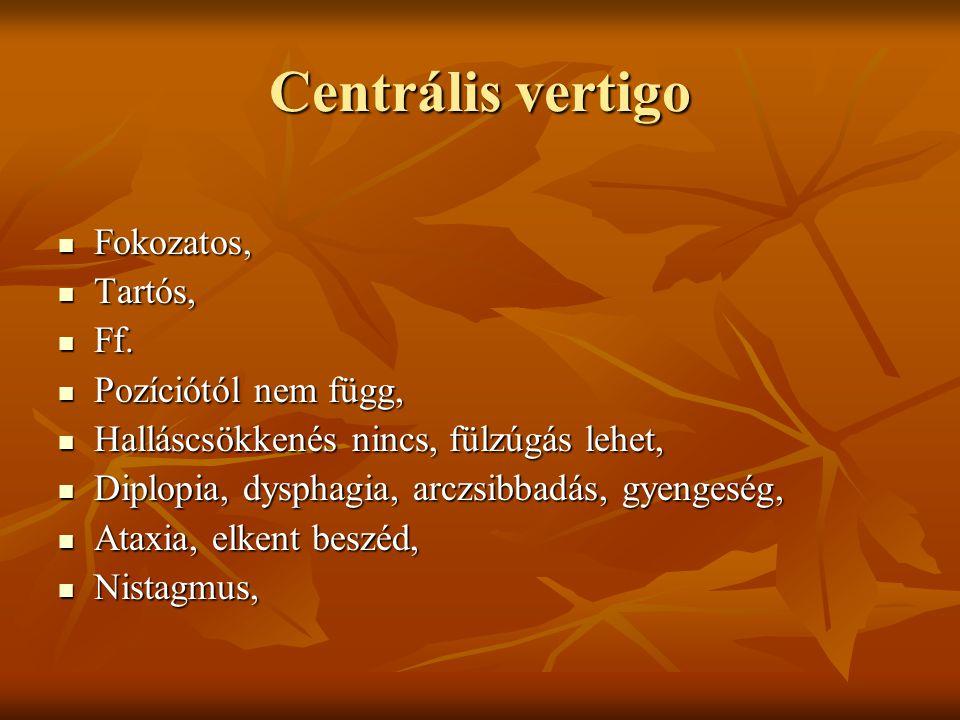Centrális vertigo Fokozatos, Fokozatos, Tartós, Tartós, Ff. Ff. Pozíciótól nem függ, Pozíciótól nem függ, Halláscsökkenés nincs, fülzúgás lehet, Hallá