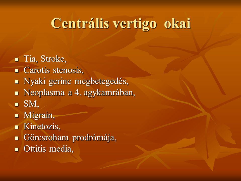 Centrális vertigo okai Tia, Stroke, Tia, Stroke, Carotis stenosis, Carotis stenosis, Nyaki gerinc megbetegedés, Nyaki gerinc megbetegedés, Neoplasma a