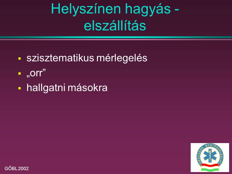 GŐBL 2002 A helyszíni ellátás célja  Az életveszély elhárítása,  A szervkárosodás megelőzése  A szenvedés csökkentése  A szállíthatóság biztosítása