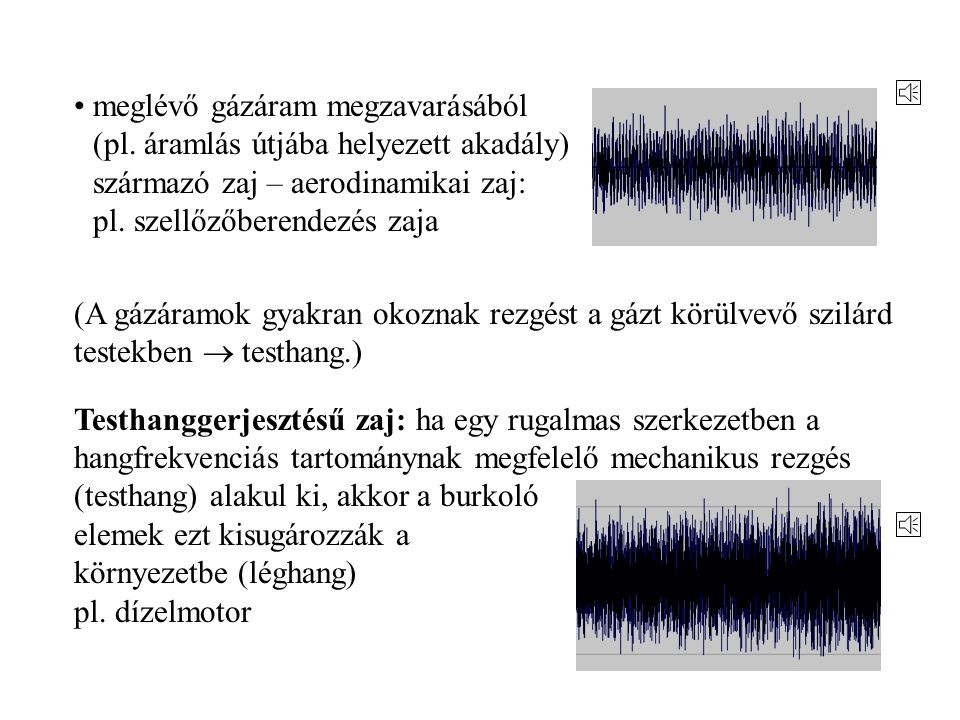 Léghanggerjesztésű és testhanggerjesztésű zajforrások Léghanggerjesztésű zaj: fizikai folyamatok (nem egyenletes áramlás, gázáramok és szilárd testek