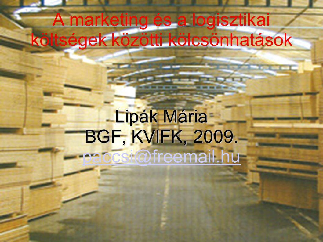 A marketing és a logisztikai költségek közötti kölcsönhatások Lipák Mária BGF, KVIFK, 2009. paccsi@freemail.hu