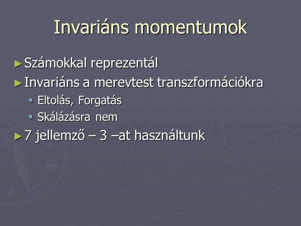 Invariáns momentumok ► Számokkal reprezentál ► Invariáns a merevtest transzformációkra  Eltolás, Forgatás  Skálázásra nem ► 7 jellemző – 3 –at haszn