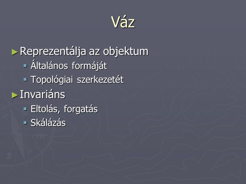 Váz ► Reprezentálja az objektum  Általános formáját  Topológiai szerkezetét ► Invariáns  Eltolás, forgatás  Skálázás