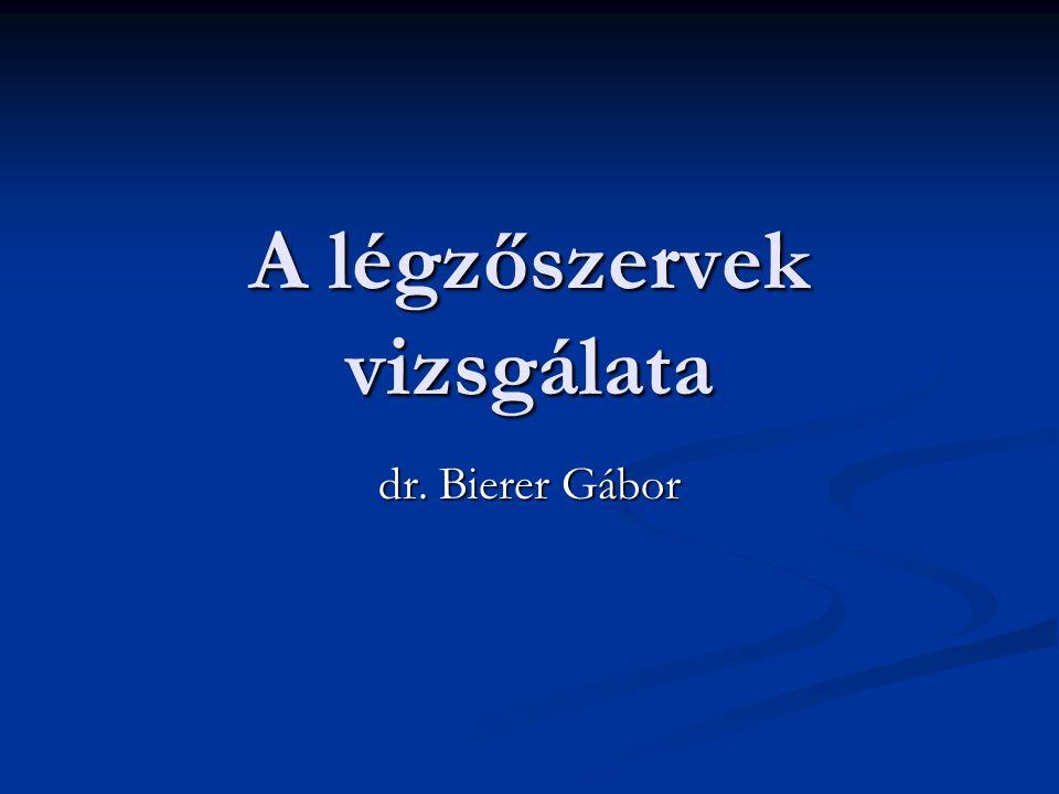 A légzőszervek vizsgálata dr. Bierer Gábor