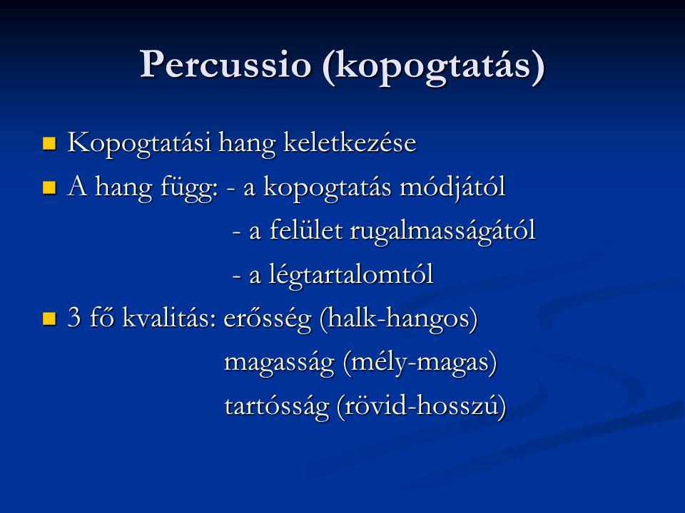Percussio (kopogtatás) Tompa Tompa Éles (dobos, nem dobos) Éles (dobos, nem dobos) A kopogtatás technikája A kopogtatás technikája Topografikus és összehasonlító kopogtatás Topografikus és összehasonlító kopogtatás