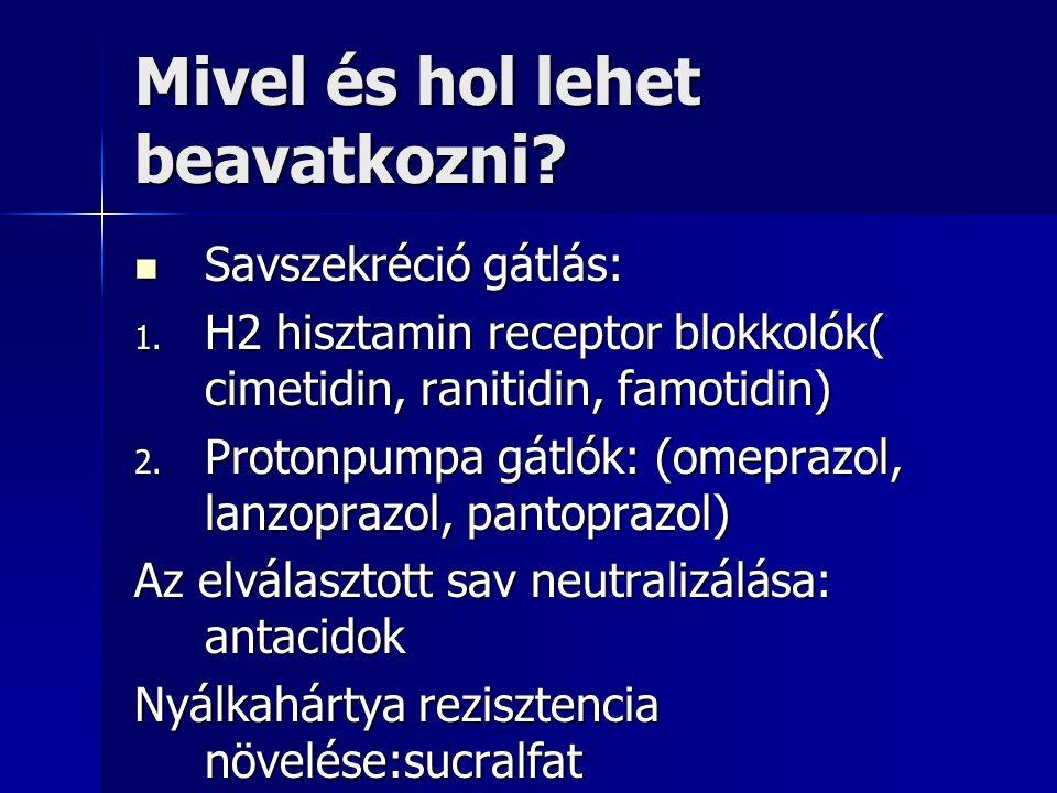 Mivel és hol lehet beavatkozni? Savszekréció gátlás: Savszekréció gátlás: 1. H2 hisztamin receptor blokkolók( cimetidin, ranitidin, famotidin) 2. Prot