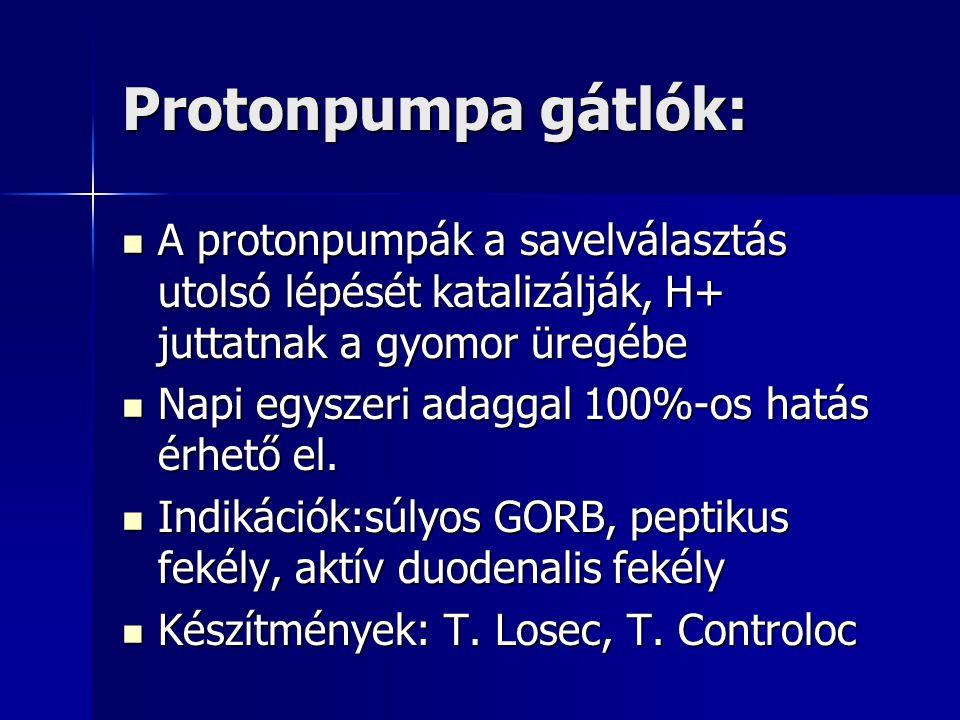 Protonpumpa gátlók: A protonpumpák a savelválasztás utolsó lépését katalizálják, H+ juttatnak a gyomor üregébe A protonpumpák a savelválasztás utolsó