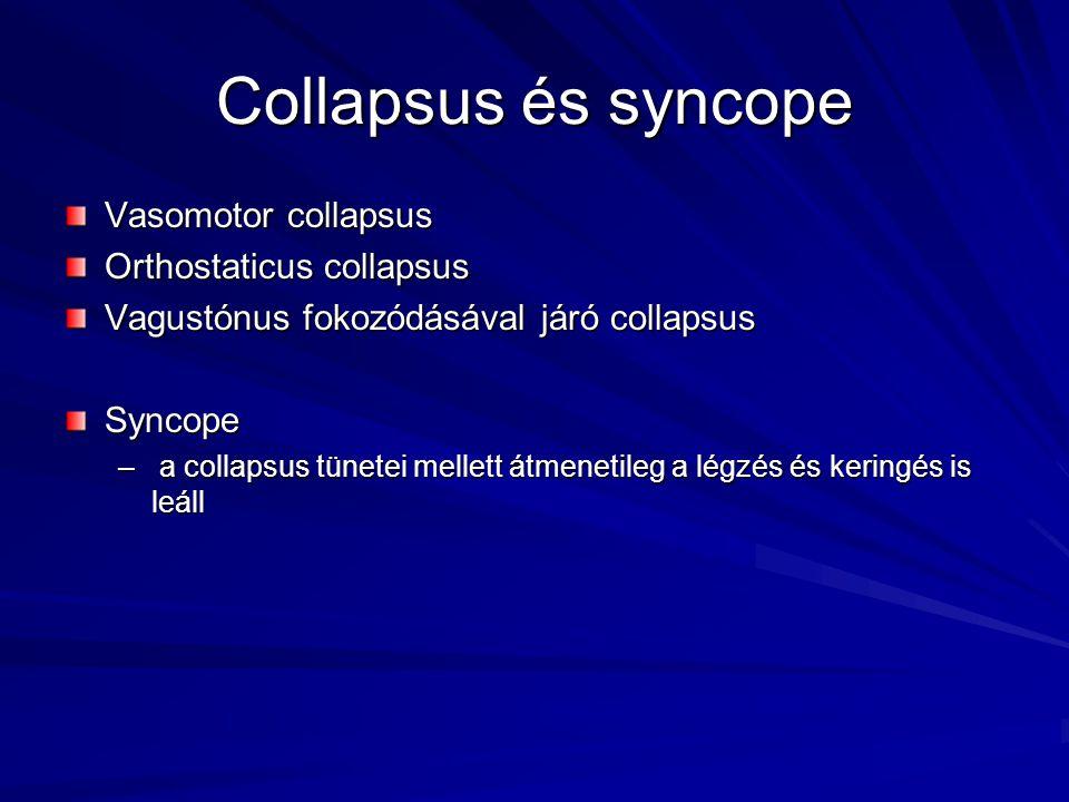Collapsus és syncope Vasomotor collapsus Orthostaticus collapsus Vagustónus fokozódásával járó collapsus Syncope – a collapsus tünetei mellett átmenet