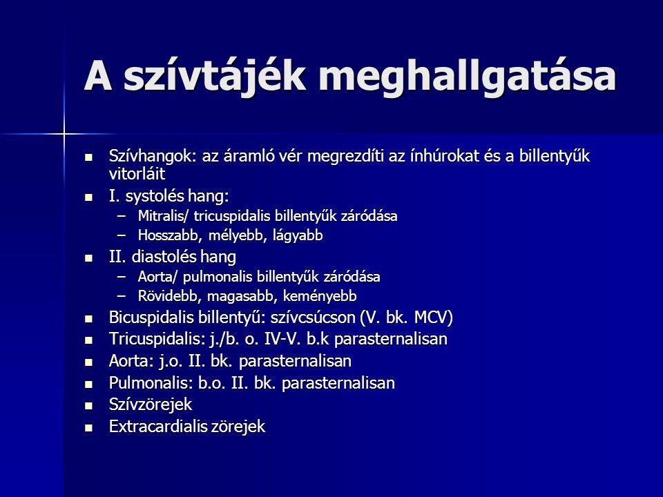 Főbb vitiumok hallgatózási eltérései Mitralis insuffitientia Mitralis insuffitientia –Holosystolés zörej a szívcsúcson Mitralis stenosis Mitralis stenosis –Diastolés zörej (opening snap) Aorta insuffitientia Aorta insuffitientia –Egész diastolét kitöltő decrescendo zörej a bal II.