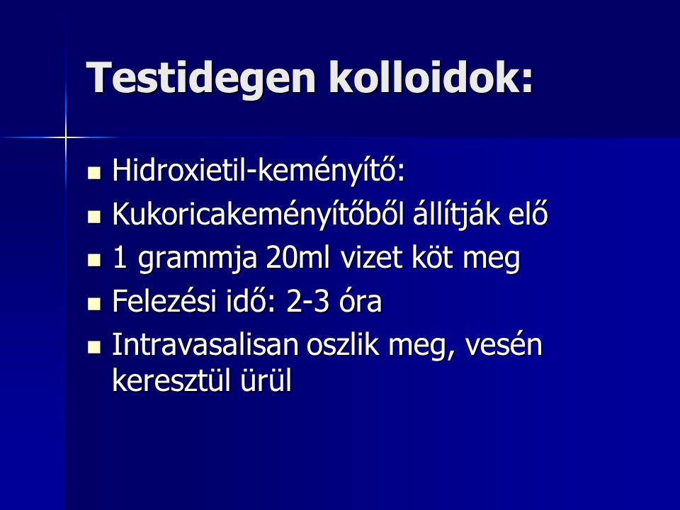 Testidegen kolloidok: Hidroxietil-keményítő: Hidroxietil-keményítő: Kukoricakeményítőből állítják elő Kukoricakeményítőből állítják elő 1 grammja 20ml