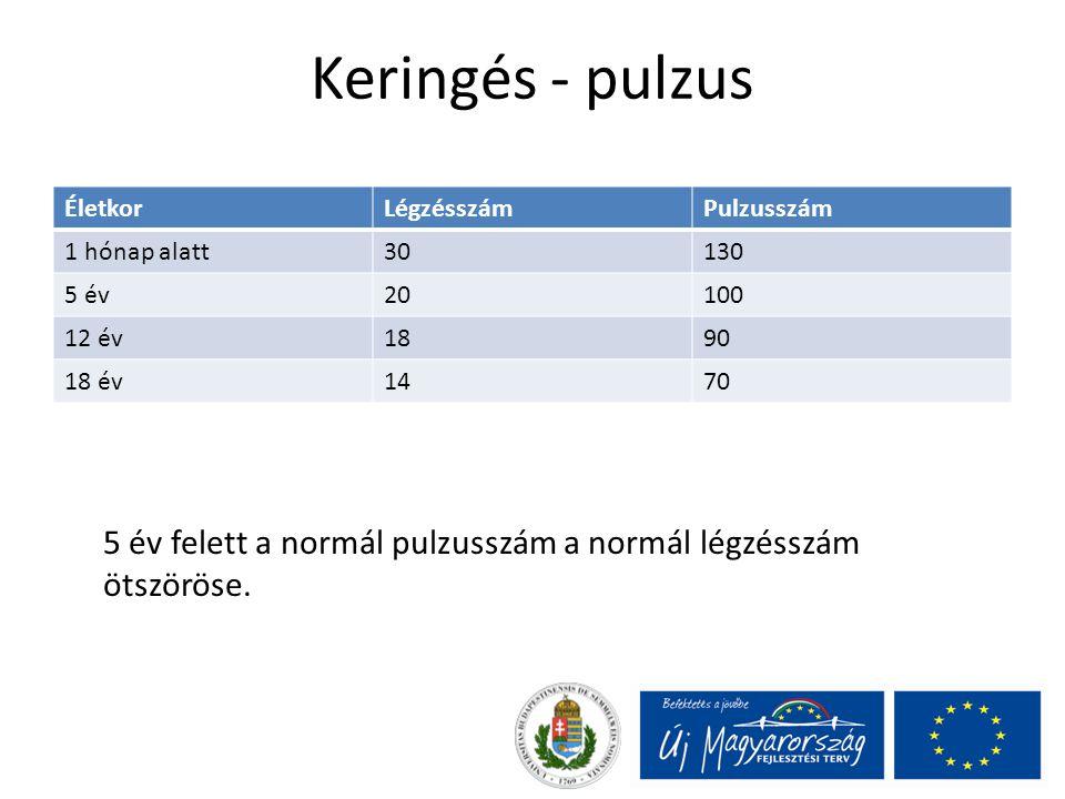 Keringés - pulzus ÉletkorLégzésszámPulzusszám 1 hónap alatt30130 5 év20100 12 év1890 18 év1470 5 év felett a normál pulzusszám a normál légzésszám öts