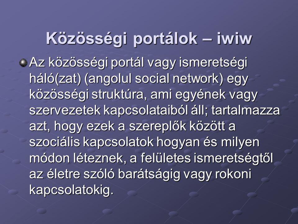 Közösségi portálok – iwiw Az közösségi portál vagy ismeretségi háló(zat) (angolul social network) egy közösségi struktúra, ami egyének vagy szervezete