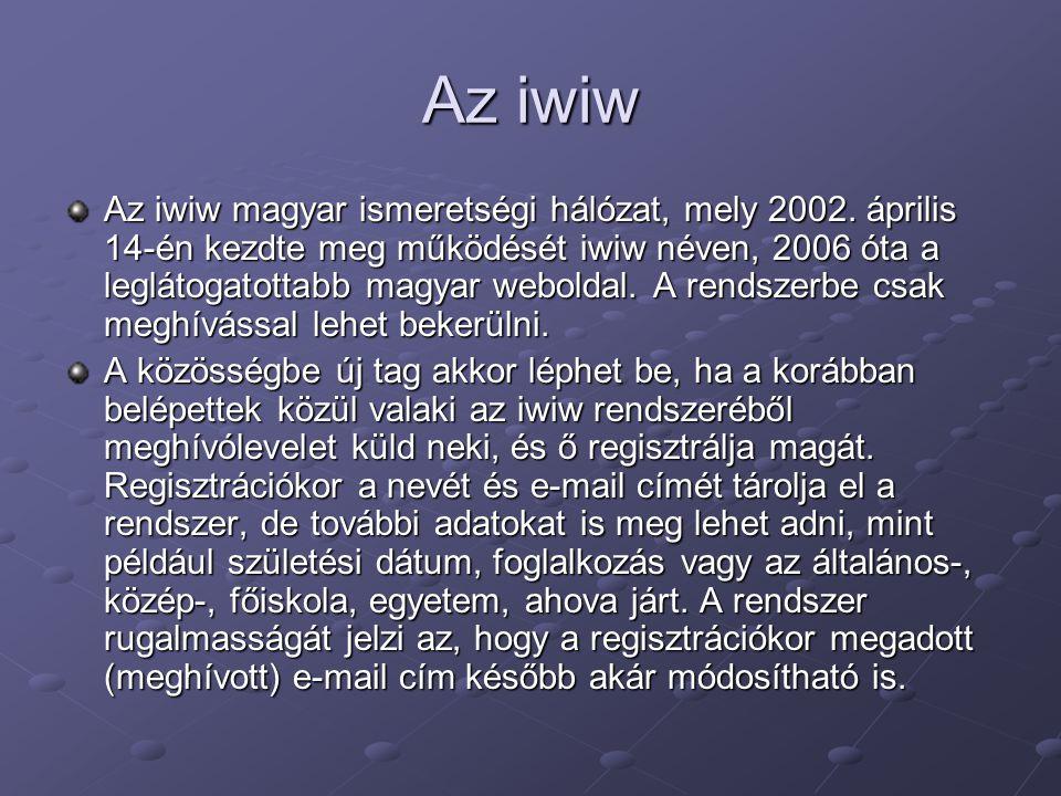 Az iwiw Az iwiw magyar ismeretségi hálózat, mely 2002. április 14-én kezdte meg működését iwiw néven, 2006 óta a leglátogatottabb magyar weboldal. A r