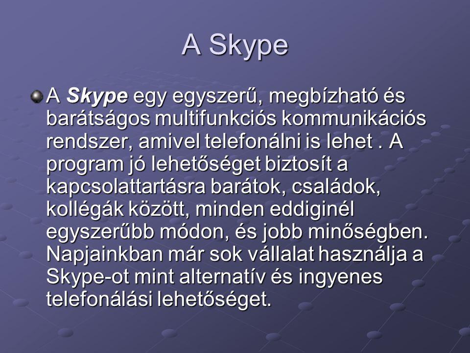A Skype A Skype egy egyszerű, megbízható és barátságos multifunkciós kommunikációs rendszer, amivel telefonálni is lehet. A program jó lehetőséget biz