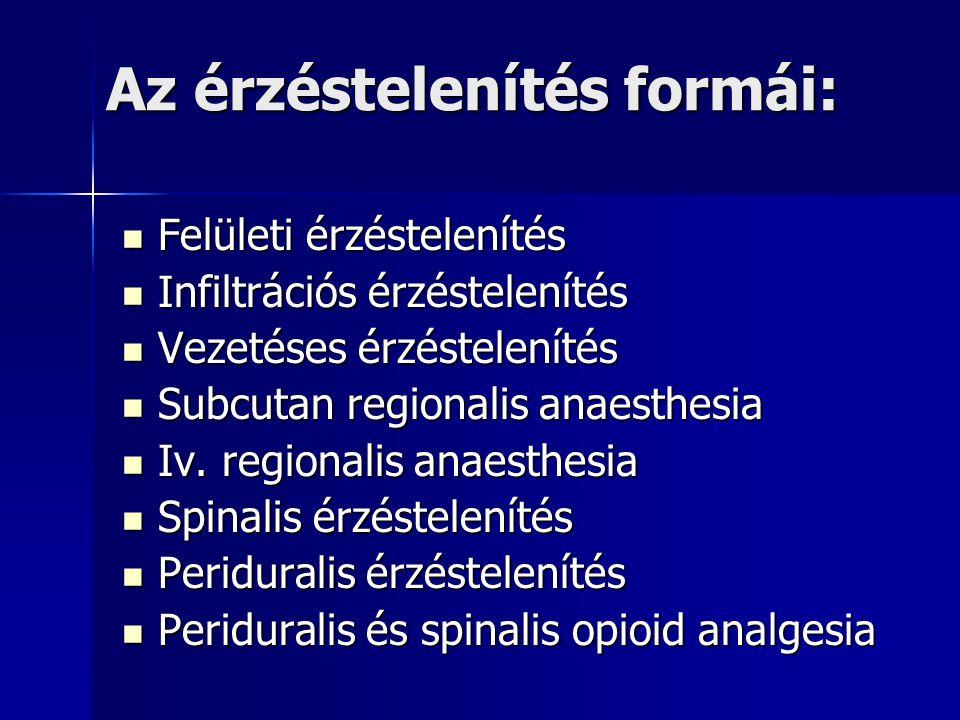 Az érzéstelenítés formái: Felületi érzéstelenítés Felületi érzéstelenítés Infiltrációs érzéstelenítés Infiltrációs érzéstelenítés Vezetéses érzéstelenítés Vezetéses érzéstelenítés Subcutan regionalis anaesthesia Subcutan regionalis anaesthesia Iv.