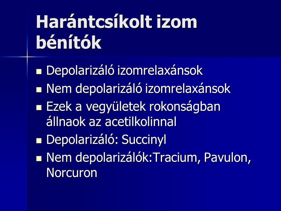 Harántcsíkolt izom bénítók Depolarizáló izomrelaxánsok Depolarizáló izomrelaxánsok Nem depolarizáló izomrelaxánsok Nem depolarizáló izomrelaxánsok Ezek a vegyületek rokonságban állnaok az acetilkolinnal Ezek a vegyületek rokonságban állnaok az acetilkolinnal Depolarizáló: Succinyl Depolarizáló: Succinyl Nem depolarizálók:Tracium, Pavulon, Norcuron Nem depolarizálók:Tracium, Pavulon, Norcuron
