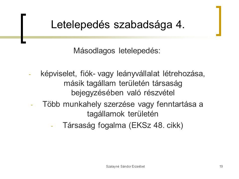 Szalayné Sándor Erzsébet19 Letelepedés szabadsága 4. Másodlagos letelepedés: - képviselet, fiók- vagy leányvállalat létrehozása, másik tagállam terüle