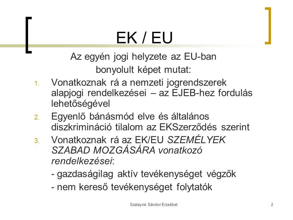 Szalayné Sándor Erzsébet2 EK / EU Az egyén jogi helyzete az EU-ban bonyolult képet mutat: 1. Vonatkoznak rá a nemzeti jogrendszerek alapjogi rendelkez