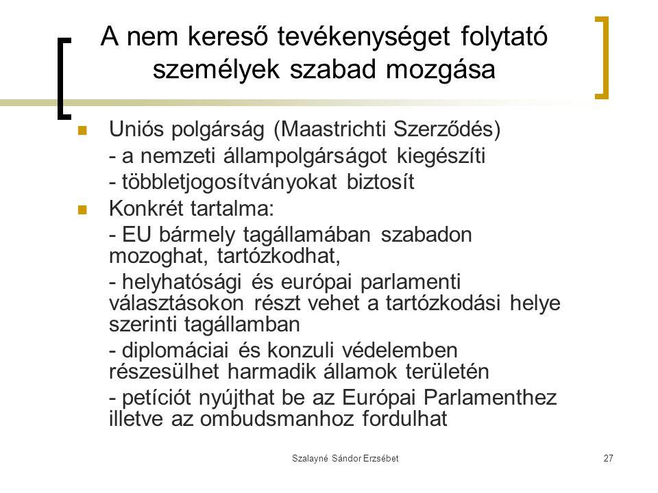 Szalayné Sándor Erzsébet27 A nem kereső tevékenységet folytató személyek szabad mozgása Uniós polgárság (Maastrichti Szerződés) - a nemzeti állampolgá