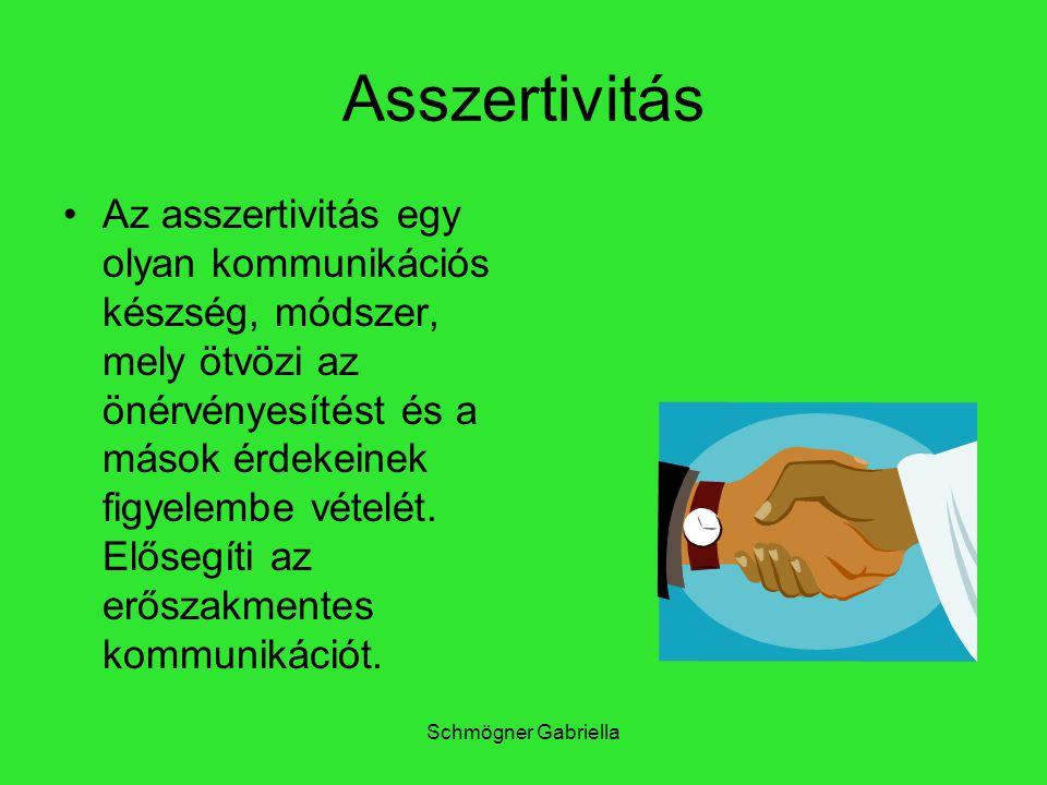 Schmögner Gabriella Asszertivitás Az asszertivitás egy olyan kommunikációs készség, módszer, mely ötvözi az önérvényesítést és a mások érdekeinek figy
