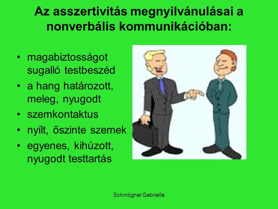 Schmögner Gabriella Az asszertivitás megnyilvánulásai a nonverbális kommunikációban: magabiztosságot sugalló testbeszéd a hang határozott, meleg, nyug