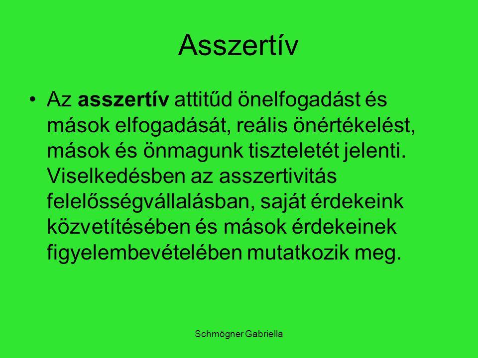 Schmögner Gabriella Asszertív Az asszertív attitűd önelfogadást és mások elfogadását, reális önértékelést, mások és önmagunk tiszteletét jelenti. Vise
