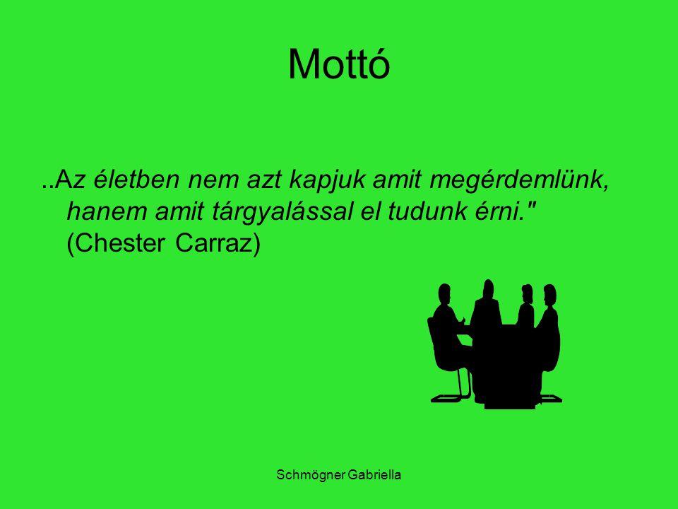 Schmögner Gabriella Mottó..Az életben nem azt kapjuk amit megérdemlünk, hanem amit tárgyalással el tudunk érni.