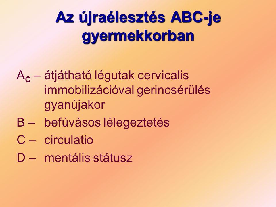 Az újraélesztés ABC-je gyermekkorban A C – átjátható légutak cervicalis immobilizációval gerincsérülés gyanújakor B – befúvásos lélegeztetés C – circulatio D – mentális státusz