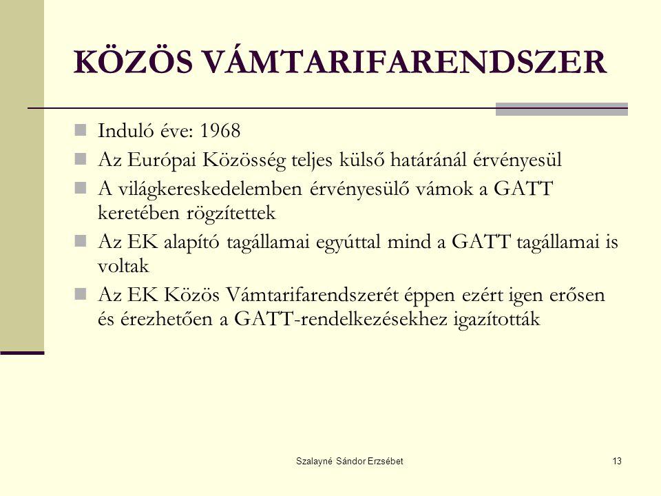 Szalayné Sándor Erzsébet13 KÖZÖS VÁMTARIFARENDSZER Induló éve: 1968 Az Európai Közösség teljes külső határánál érvényesül A világkereskedelemben érvén