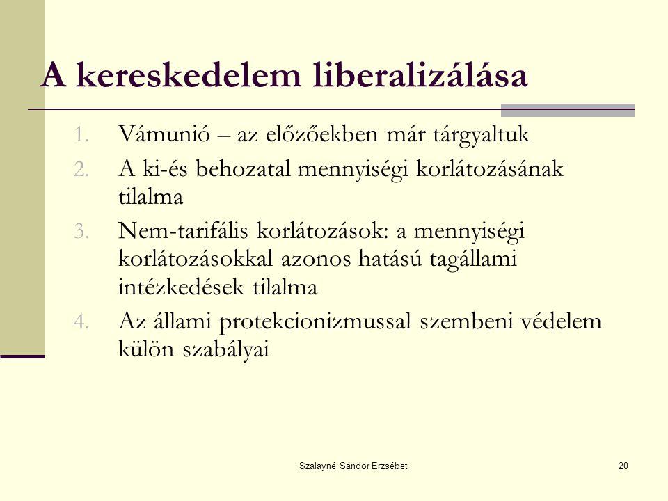 Szalayné Sándor Erzsébet20 A kereskedelem liberalizálása 1. Vámunió – az előzőekben már tárgyaltuk 2. A ki-és behozatal mennyiségi korlátozásának tila