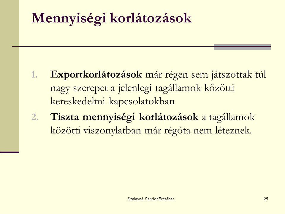 Szalayné Sándor Erzsébet25 Mennyiségi korlátozások 1. Exportkorlátozások már régen sem játszottak túl nagy szerepet a jelenlegi tagállamok közötti ker