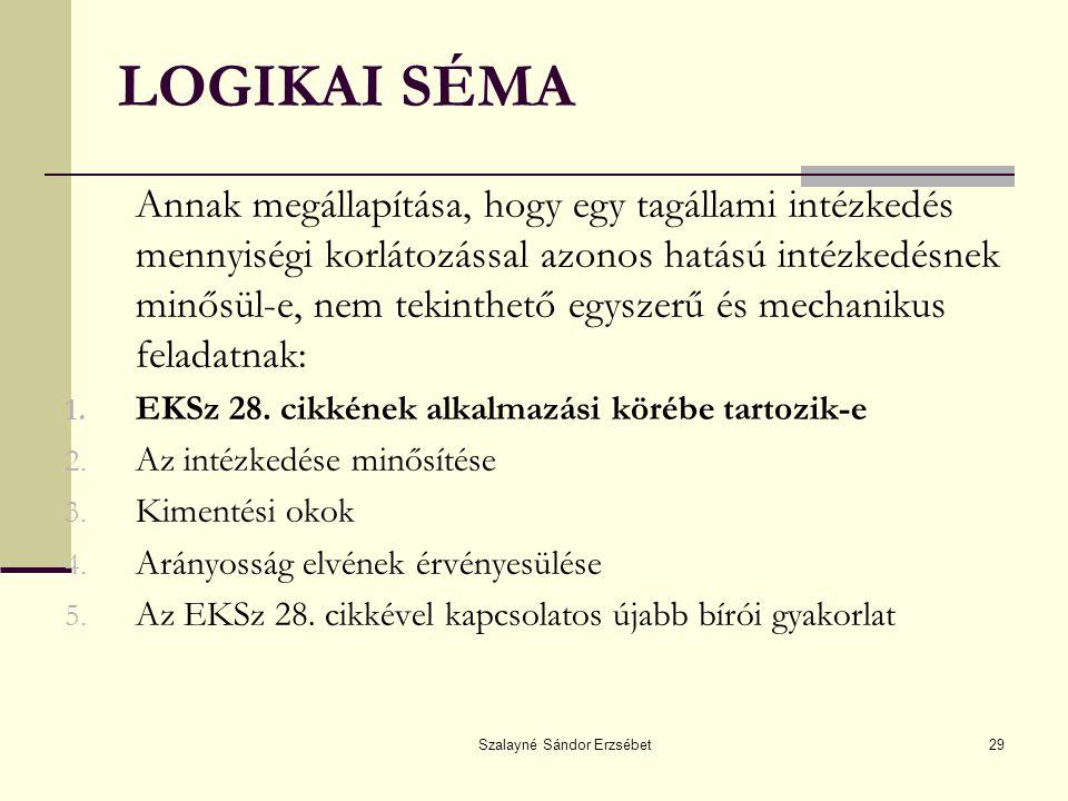 Szalayné Sándor Erzsébet29 LOGIKAI SÉMA Annak megállapítása, hogy egy tagállami intézkedés mennyiségi korlátozással azonos hatású intézkedésnek minősü